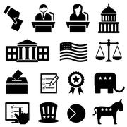 Election and voting icons - stock illustration