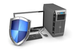 Desktop PC and shield Stock Illustration