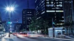 Pan: Avenida Paulista night traffic time lapse Sao Paulo Brazil Stock Footage