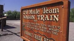 Establishing sign, Furnace Creek twenty mule team Stock Footage