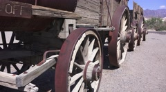 Old Twenty Mule Team borax and water wagons Stock Footage