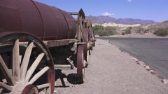 Twenty mule team ore and water wagons Stock Footage