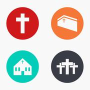 Vector modern church colorful icons set Piirros