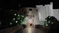 Dubrovnik western gate of the city night scene Stock Footage