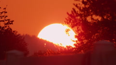 Beautiful golden sun setting behind the horizon Stock Footage