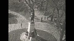 Vintage 16mm film, Philadelphia 1932, statue philly Stock Footage