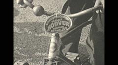 Vintage 16mm film, 1932, Philadelphia, hoover rossevelt pres bike Stock Footage