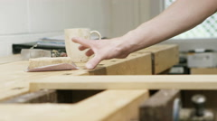 4K Professional carpenter in his workshop - stock footage