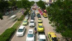Busy congestion road oncoming direction from above, time lapse shot - stock footage