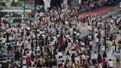 Crowds at the Famous Shibuya crossing on a Sunday, Slow Motion Stock Footage