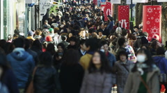 Crowds of Shoppers in Tokyo Harajuku Omote Sando Street, Slow Motion Stock Footage