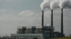 Coal Power Plant Emitting Carbon Dixodie from Smokestacks - stock footage