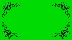 Real Animated Cartoon Decorative Shaped Border Corners on a Green Screen Stock Footage