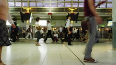 Stock Video Footage of Pedestrian in hurry at Shinagawa Station