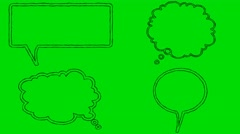Real Animated Cartoon Speech Bubbles on a Green Screen Background Stock Footage