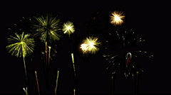 Firework Show Animation - Loop Yellow Stock Footage