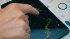 A trader looks at the graphics Currency Forex on the tablet  - stock footage