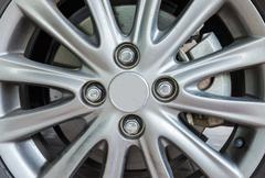 Modern alloy wheel Stock Photos