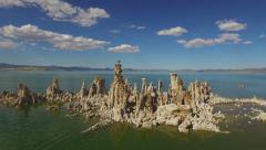 Mono Lake Tufa with Landing Osprey Aerial HD - stock footage