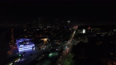 Gores group beverly hills wilshire and santa monica cars night lights drone Stock Footage