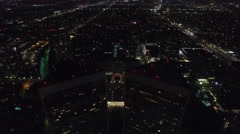 Century city towers night drone Stock Footage
