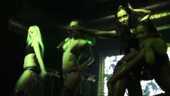 Female dancing show on a scene. Sexy girls in underwear. Strobe light Stock Footage