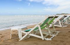 Beach chair on the beach in pattaya - stock photo