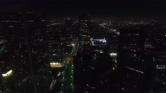 Century city towers trucking shot drone night lights Stock Footage