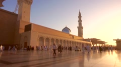 Pilgrims walking at outside of Nabawi Mosque at Medina, Saudi Arabia Stock Footage