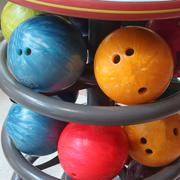 Close up bowling ball for play sport Stock Photos