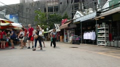 Chatuchak Weekend market stalls, tableware, clothing sale, building construction Stock Footage