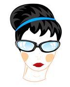 Girl in glasses - stock illustration