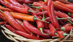 close up red chili in basket - stock photo
