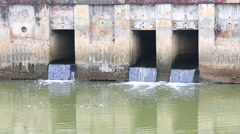 Waste, water pollution, canal Stock Footage