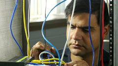 Man having trouble with router - stock footage