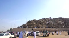 Pilgrims visiting Jabal rahmah Stock Footage