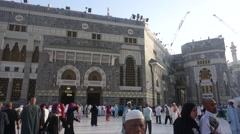 Pilgrims at outside of Masjidil Haram Mosque Stock Footage