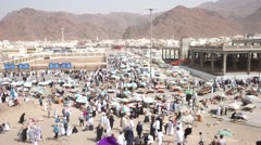 Street market in front of Uhud hill Stock Footage