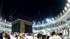 Pilgrims in front of Kaaba inside Masjidil Haram Stock Footage