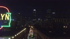 Rosalyn Hotel Downtown Los Angeles Night drone Stock Footage
