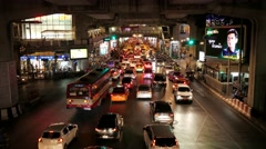 Evening Traffic in Bangkok During Rush Hour. View from Above. - stock footage