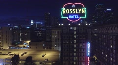 Rosslyn hotel downtown los angeles night lights Stock Footage