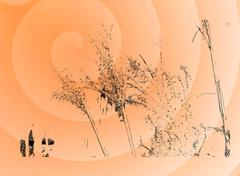 Orange spirals were made of dry grass silhouettes Stock Illustration