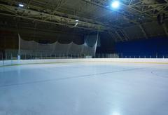 empty ice rink, hockey arena - stock photo