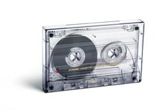 close up of vintage audio tape cassette - stock photo