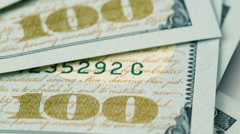 Banknotes in 100 US dollars Stock Footage