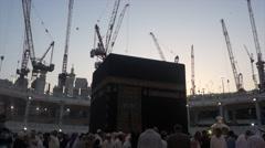 Pilgrims in front of Kaaba inside Masjidil Haram Stock Footage