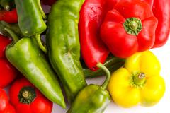 Bunch of different peppers, red, green and red Stock Photos