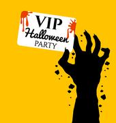 Zombie hand holding invite VIP card for halloween Stock Illustration