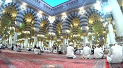 Pilgrims inside Nabawi Mosque Stock Footage